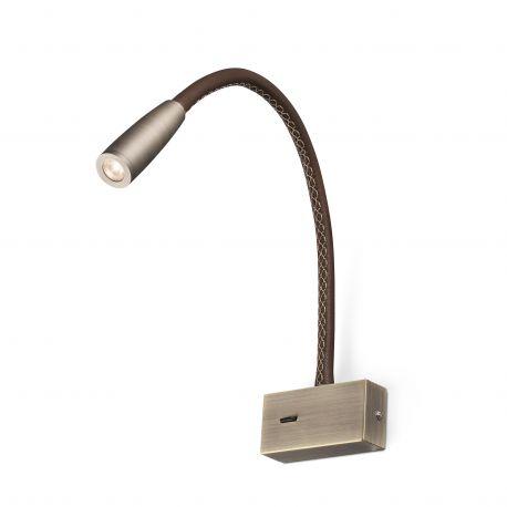Aplice, corpuri de iluminat pentru pereti - Aplica moderna cu reader LED LEAD Bronze