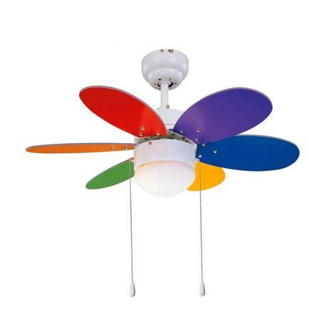 Lustre cu ventilator - Lustra cu Ventilator palete reversibile multicolore RAINBOW