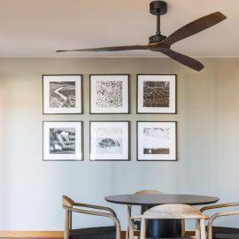 Lustre cu ventilator - Ventilator de tavan cu telecomanda design modern JUSTFAN lemn/negru