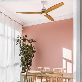 Lustre cu ventilator - Lustra LED cu Ventilator si telecomanda design modern ALO alb/lemn