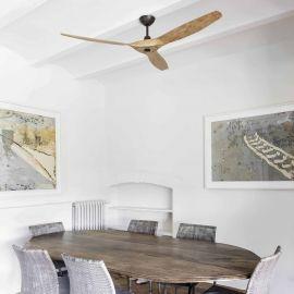 Lustre cu ventilator - Ventilator de tavan cu telecomanda design modern MOREA maro/ lemn pin