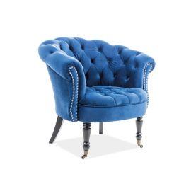 Fotolii - Fotoliu elegant tapitat cu catifea in stil glamour PHILIPS albastru