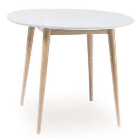 Mese dining - Masa LARSON alb/ stejar 90cm