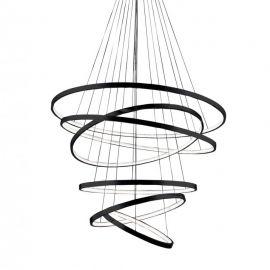 Corpuri de iluminat Lustre pentru casa scarii - Lustra LED dimabila design modern casa scarii Wheel 6 Long neagra