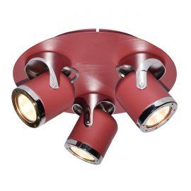 Corpuri de iluminat - Lustra aplicata cu 3 spoturi camera copii APRIL rosu/crom