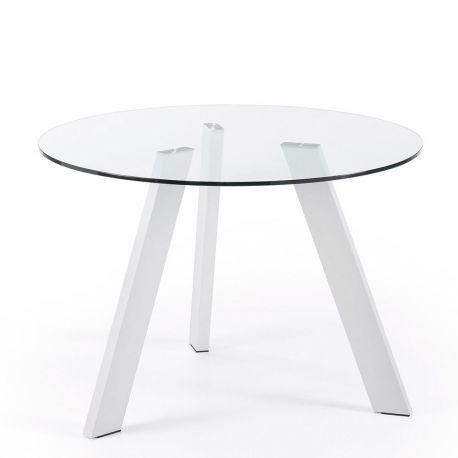 Mese dining - Masa COLUMBIA 110cm alb/ transparent
