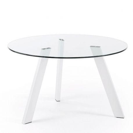 Mese dining - Masa COLUMBIA 130cm alb/ transparent