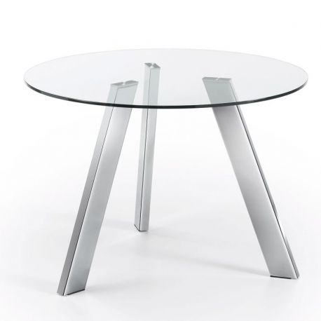 Mese dining - Masa COLUMBIA 110cm crom/ transparent