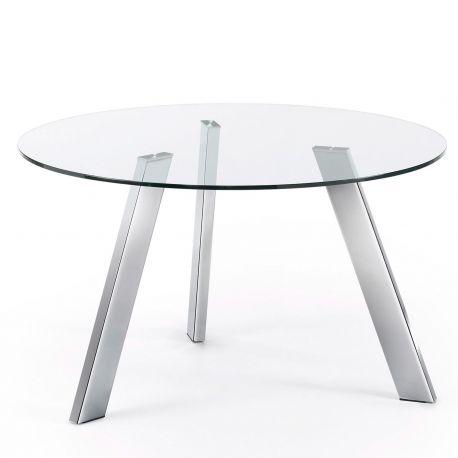 Mese dining - Masa COLUMBIA 130cm crom/ transparent