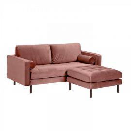 Canapele - Canapea fixa 2 locuri si taburete inclus BOGART catifea roz