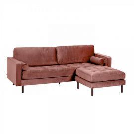 Canapele - Canapea fixa 3 locuri si taburete inclus BOGART catifea roz