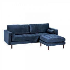 Canapele - Canapea fixa 3 locuri si taburete inclus BOGART catifea albastra