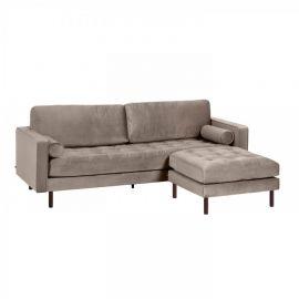 Canapele - Canapea fixa 3 locuri si taburete inclus BOGART catifea gri