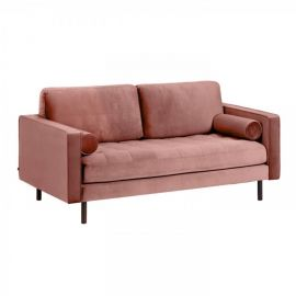 Canapea fixa 2 locuri BOGART, catifea roz