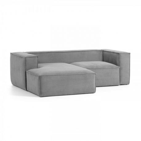 Canapele - Canapea 2 locuri cu sezlong stanga 240cm Blok velveteen gri