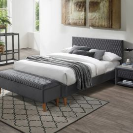 Paturi - Pat dormitor tapitat cu catifea gri AZURRO VELVET 140X200