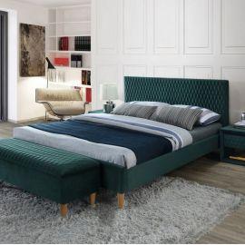 Paturi - Pat dormitor tapitat cu catifea verde AZURRO VELVET 140X200