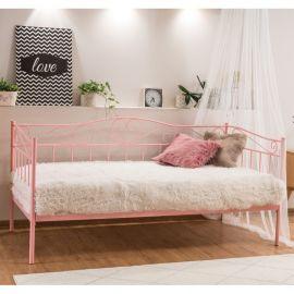 Paturi - Pat metalic single pentru camera adolescenti BIRMA 90X200 roz