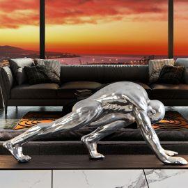 Statuete - Statueta decorativa mare design de lux Human Asana argintie