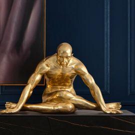 Statuete - Statueta decorativa mare design de lux Human Yoga aurie