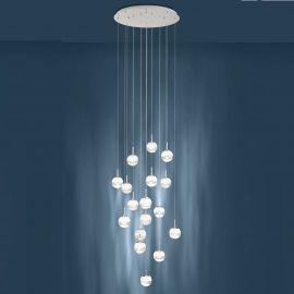 Lustra LED design casa scarii cu 17 pendule suspendate MONTEFIO 2