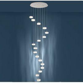 Corpuri de iluminat Lustre pentru casa scarii - Lustra LED design casa scarii cu 17 pendule suspendate CORLIANO 1