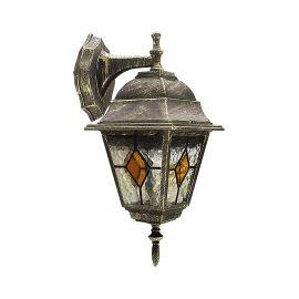 Aplice - Aplica pentru iluminat exterior IP43, down light, auriu antic, sticla Tiffany, Monaco