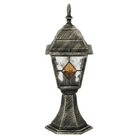 Stalpi  - Stalp pentru iluminat exterior H-42cm, IP43, auriu antic, sticla Tiffany, Monaco