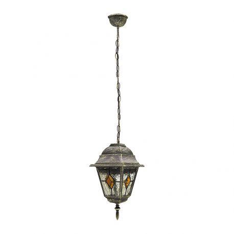 Pendule - Pendul pentru exterior, inaltime reglabila, IP43, auriu antic, sticla Tiffany, Monaco