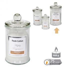 Parfumuri de camera, Idei cadouri, Obiecte decorative - Lumanare parfumata GLASS JAR CANDLE FRESH COTON alb