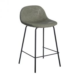 Set de 2 scaune de bar design modern Jaffer, verde inchis