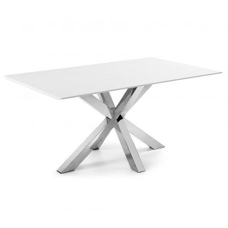 Mese dining - Masa Dining ARYA 160x90cm otel/ MDF alb