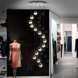 Corpuri de iluminat Lustre pentru casa scarii - LUSTRA cu 14 pendule LED, H-300cm, DIMABILA prin BLUETOOTH Sphere 50cm