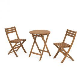 Amenajari exterioare - Set masa si 2 scaune pliabile din lemn de salcam pentru exterior Elisia