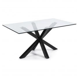 Mese dining - Masa Dining ARYA 160x90cm otel negru/ sticla