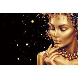 Tablouri - Tablou decorativ din sticla calita GOLDEN FACE 120x80cm