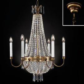 Lustre Cristal Asfour - Candelabru clasic din alama decorat cu cristale Asfour Empire dia 62cm, antique brass