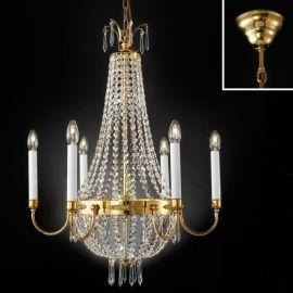 Lustre Cristal Asfour - Candelabru clasic din alama decorat cu cristale Asfour Empire dia 62cm, 24K gold plated