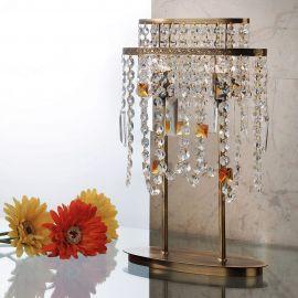 Veioze, Lampadare Cristal - Veioza din alama si cristale Schöler Kristalldesign, Antique Brass