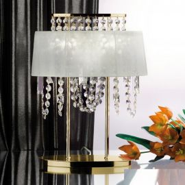 Veioze, Lampadare Cristal - Veioza din alama si cristale Schöler Kristalldesign, gold