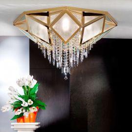 Lustre Cristal Swarovski - Lustra aplicata cristal Swarovski Spectra design de lux Oktogon 95cm 24K gold plated
