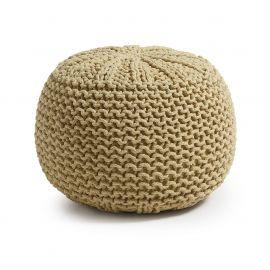 Banchete-Tabureti - Taburete acoperit cu bumbac tricotat manual SHORE 50cm galben mustar