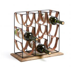 Biblioteci-Rafturi - Raft pentru 9 sticle de vin din metal, lemn de mango si piele WINNOE