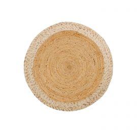 Covoare - Covor rotund din iuta si lana Meray 100cm alb