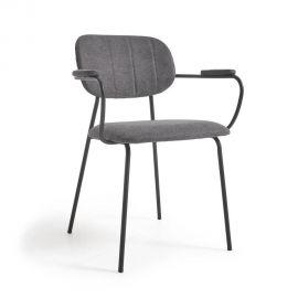 Scaune - Scaun cu brate design modern Auxtina, gri inchis