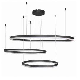 Corpuri de iluminat Lustre pentru casa scarii - Lustra LED XXL suspendata design modern circular geometric Halo BK
