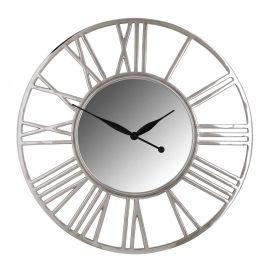Decoratiuni perete - Ceas de perete din metal si oglinda Danell round silver 81cm
