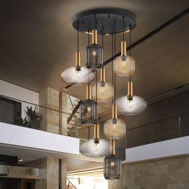 Corpuri de iluminat Lustre pentru casa scarii - Lustra XXL moderna cu 9 pendule dimabila si telecomanda Norma