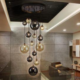 Corpuri de iluminat Lustre pentru casa scarii - Lustra XXL suspendata cu 14 pendule design modern Dark