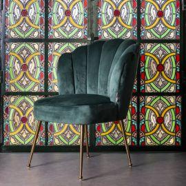 Scaune - Scaun elegant cu tapiterie din catifea Pippa verde/ auriu